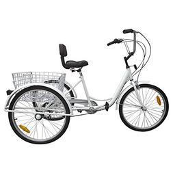 Ridgayard 6 Speed 24 Inch 3 Wheel Adult Tricycle Cruise Carg