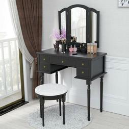 5 Drawers 3 Mirrors Vanity Makeup Dressing Table Set Wood De