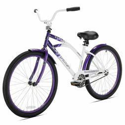Kent Rockvale 26-Inch Ladies' Cruiser Bicycle in White/Purpl