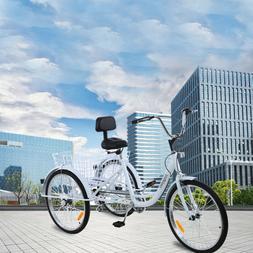 """Unisex Adult 24"""" 3-Wheel 7-Speed Tricycle Trike Bicycle Bike"""