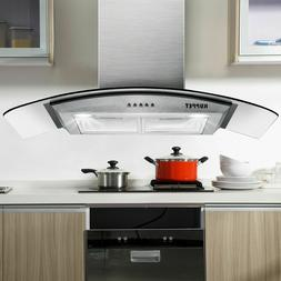 "30"" Stainless Steel Glass Wall Mount Kitchen Vent Range Hood"