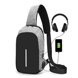Sling Bag with USB Charging Port & Headphone Hole, Smart Cro