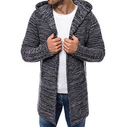 Solid Knit Trench Hooded Coat Men Long Sleeve Outwear Blouse