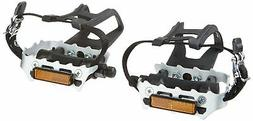 Silver New Diamondback 9//16 Spindle Alloy ATB Pedals with Clips and Straps