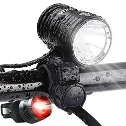 AUOPRO Super Bright Bike Lights Front and Back, 1200 Lumen U