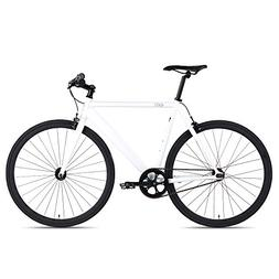 6KU Track Fixed Gear Bicycle, White/Black, 49cm