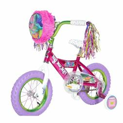 trolls pink steel 12 inch bike open