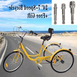 """Adult Tricycle 7-Speed 24"""" 3-Wheel Bicycle Trike Bike  Cruis"""
