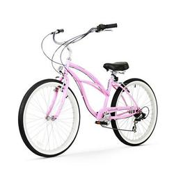 Women's Urban Lady 7 Speed Beach Cruiser Bike, Pink