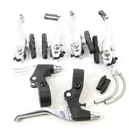 V-Brake Linear Pull Brakeset + Brake Levers Silver Bike NEW