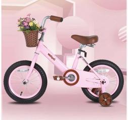"""JOYSTAR Vintage 14"""" Inch Kids Bike with Basket & Training Wh"""