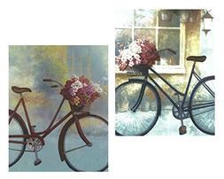 Set of 2 Vintage Floral Bikes Bicycle Flower Basket Art Prin