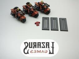Warhammer 40K Space Marines - Outriders, 3 Bikers & Bikes
