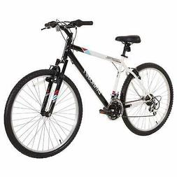 "26"" Wheel Mountain Bike Mens Bicycle Steel Frame Black White"