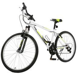 White 26'' Mountain Bike Hybrid Bike 18 Speed Suspension For