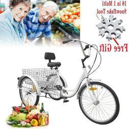 "Adult 3-Wheel 7-Speed Tricycle 24"" w/ Large Basket Bicycle B"
