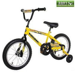 """YELLOW BOYS BIKE 16"""" CHILDREN STARTER BICYCLE TRAINING WHEEL"""