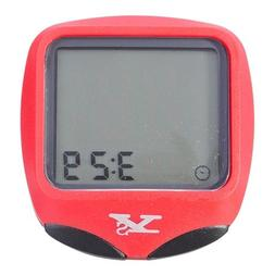 YS-468B 16 Functions Bicycle Computer w/ Backlight - Red / S