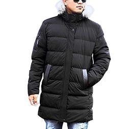 Men Medium Length Zipper Plus Size Hooded Pure Color Thicken